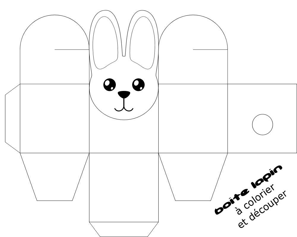 boite lapin à colorier