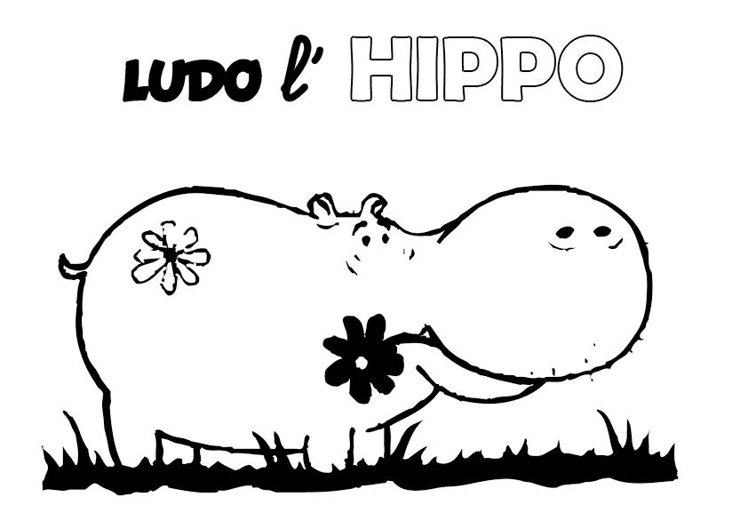 Coloriage Fourniturescolaire.net : Ludo l'hippo